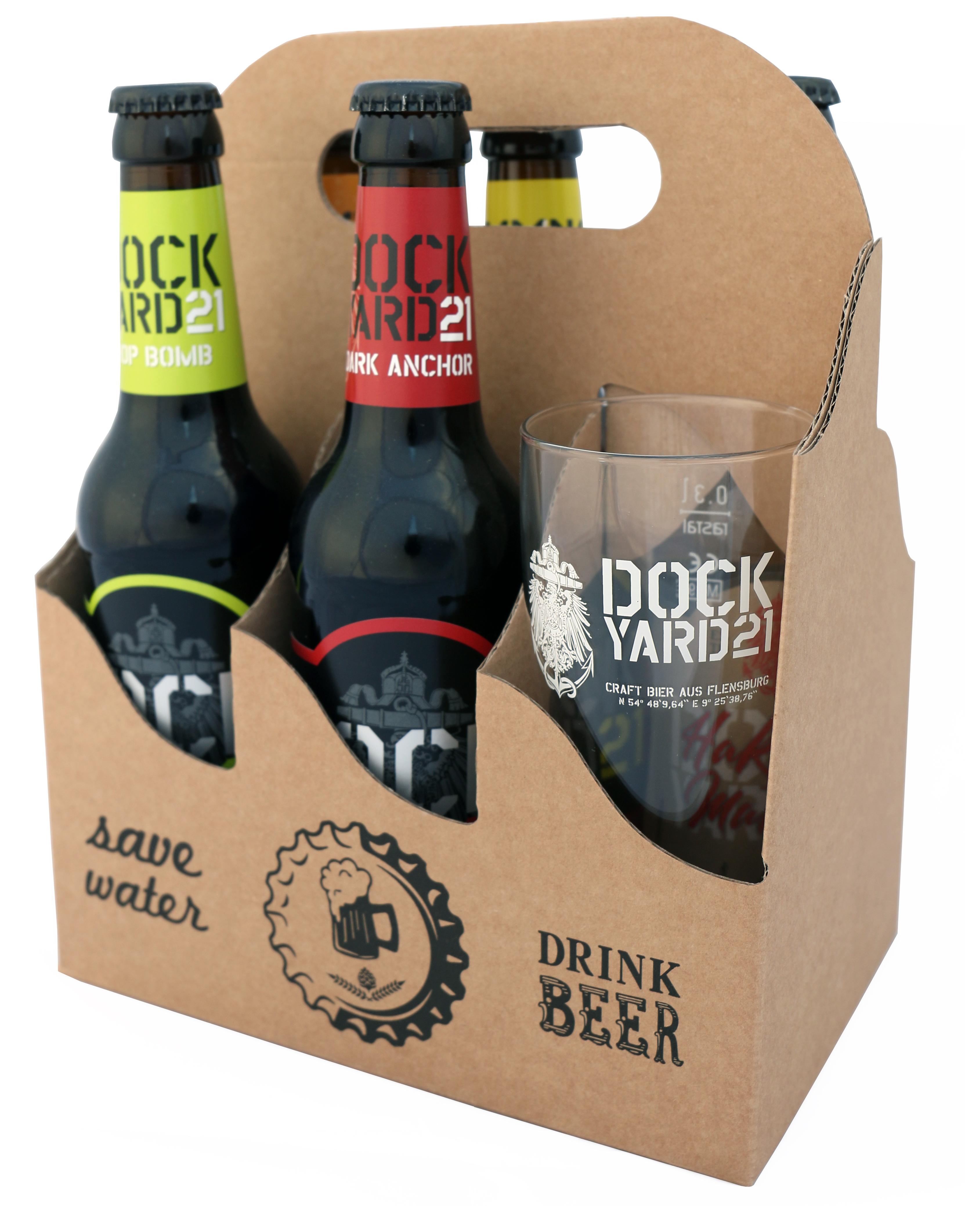 """""""Save Water Drink Beer""""-Paket mit 5 Bieren und einem Glas"""